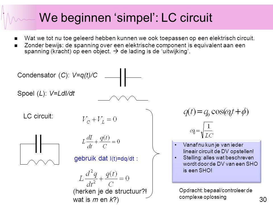 30 We beginnen 'simpel': LC circuit Wat we tot nu toe geleerd hebben kunnen we ook toepassen op een elektrisch circuit. Zonder bewijs: de spanning ove