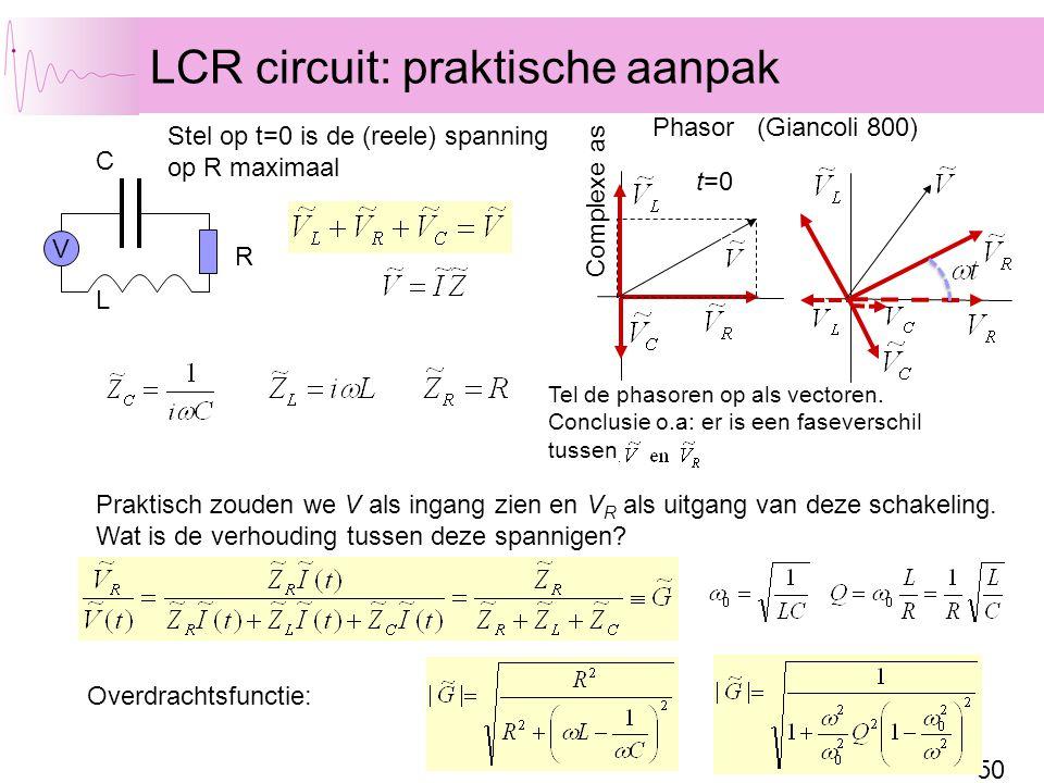 50 LCR circuit: praktische aanpak CL R V Complexe as Stel op t=0 is de (reele) spanning op R maximaal Tel de phasoren op als vectoren. Conclusie o.a: