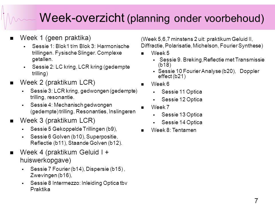 7 Week-overzicht (planning onder voorbehoud) Week 1 (geen praktika)  Sessie 1: Blok1 t/m Blok 3: Harmonische trillingen. Fysische Slinger. Complexe g