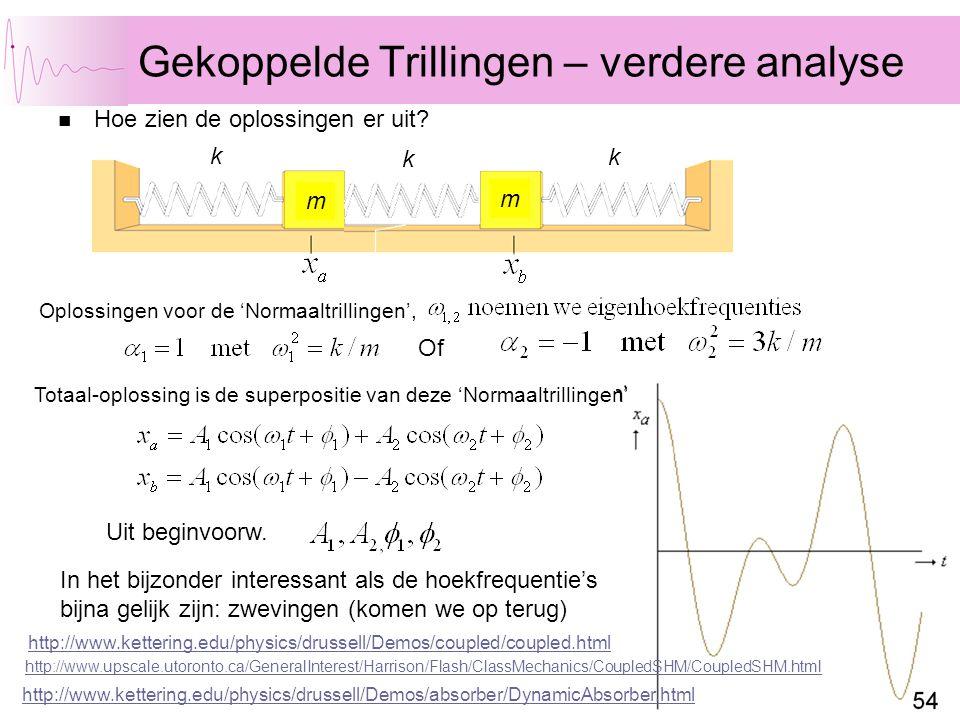 72 Gekoppelde Trillingen – verdere analyse Hoe zien de oplossingen er uit? m m k k k Of Oplossingen voor de 'Normaaltrillingen', Totaal-oplossing is d
