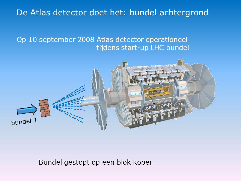 bundel 1 De Atlas detector doet het: bundel achtergrond Bundel gestopt op een blok koper Op 10 september 2008 Atlas detector operationeel tijdens start-up LHC bundel