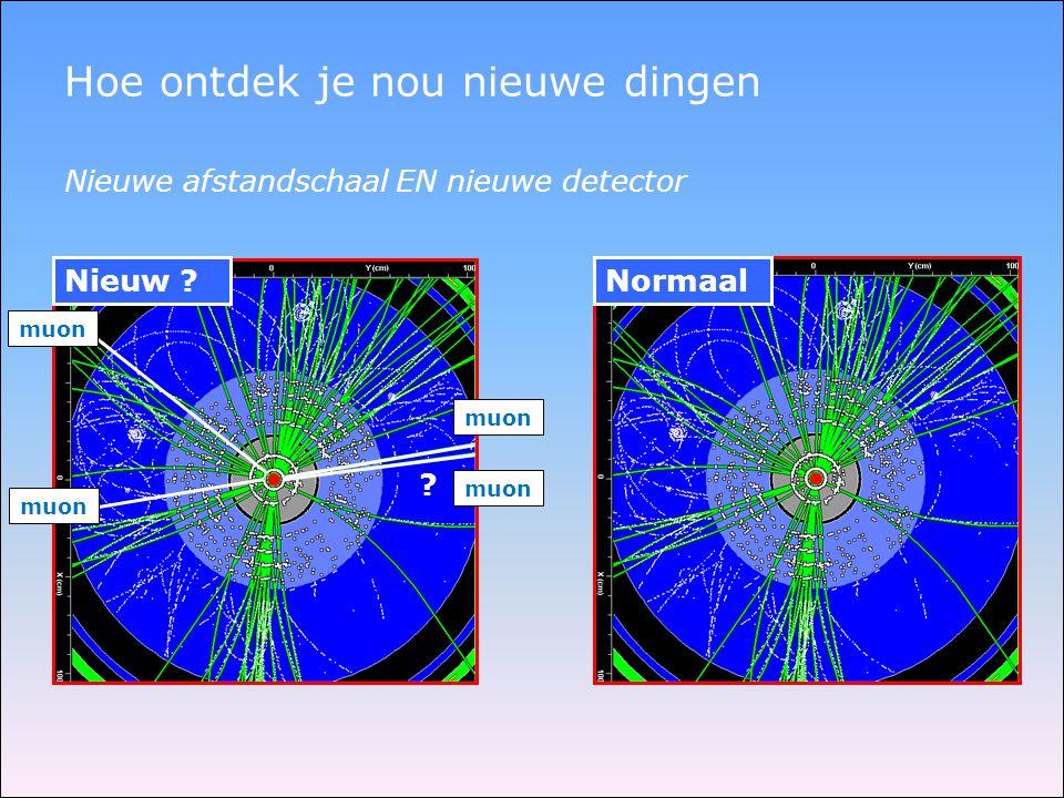 Normaal Hoe ontdek je nou nieuwe dingen Nieuw ? Nieuwe afstandschaal EN nieuwe detector ? muon