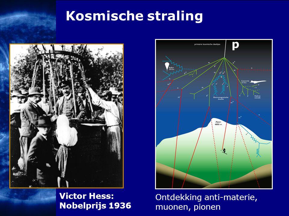 Kosmische straling Victor Hess: Nobelprijs 1936 p Ontdekking anti-materie, muonen, pionen