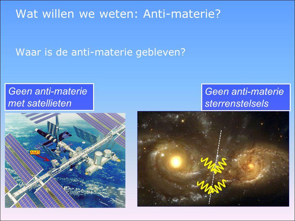 Wat willen we weten: Anti-materie.Waar is de anti-materie gebleven.