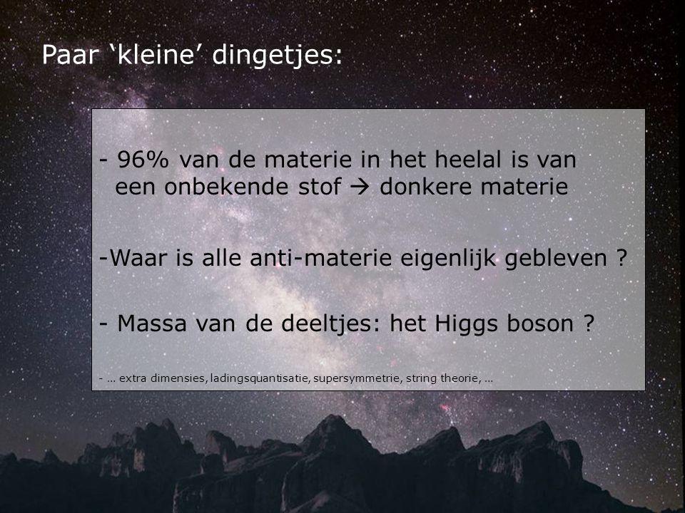 - 96% van de materie in het heelal is van een onbekende stof  donkere materie -Waar is alle anti-materie eigenlijk gebleven ? - Massa van de deeltjes