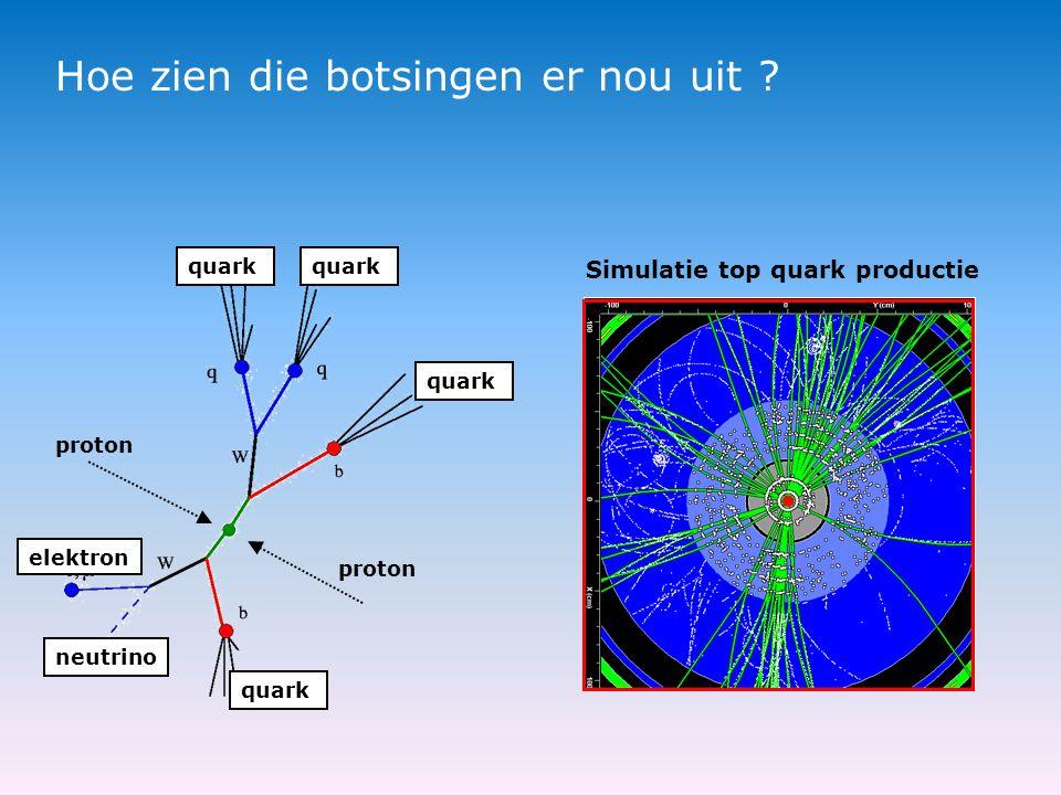 Hoe zien die botsingen er nou uit ? proton quark neutrino elektron quark Simulatie top quark productie
