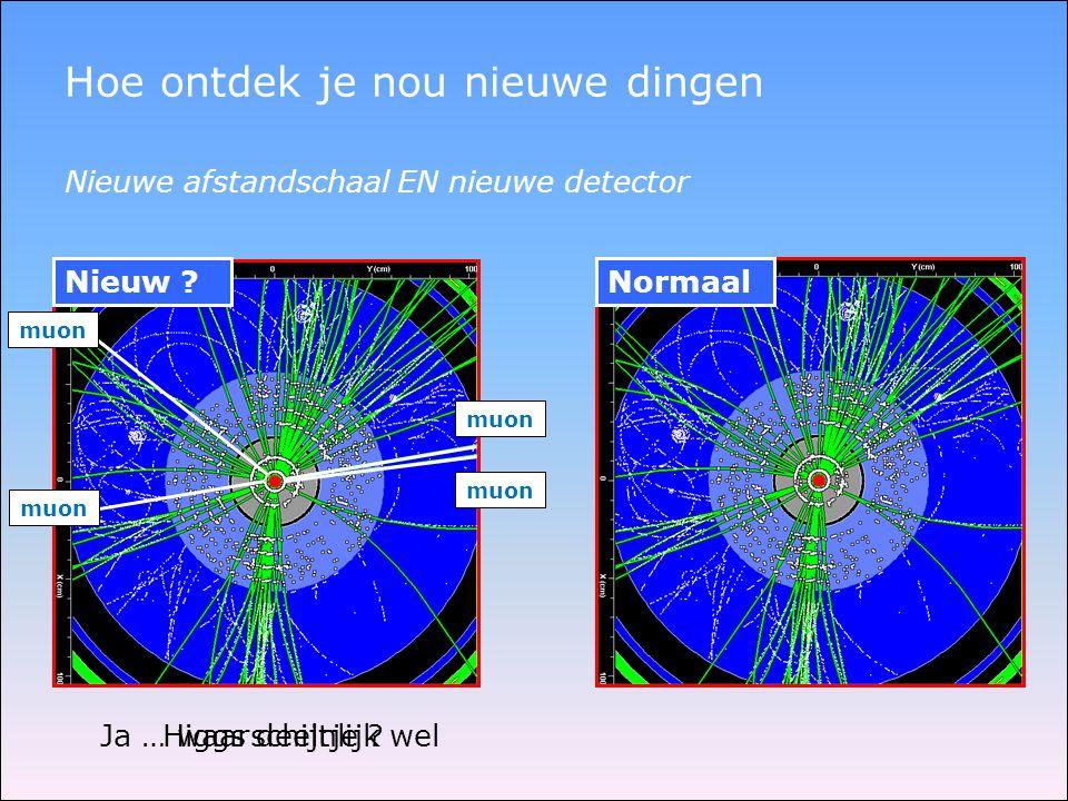 Normaal Hoe ontdek je nou nieuwe dingen Nieuw ? Nieuwe afstandschaal EN nieuwe detector muon Higgs deeltje ?Ja … waarschijnlijk wel
