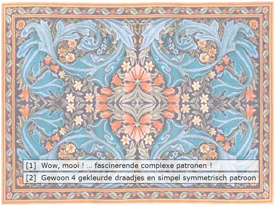 [1] Wow, mooi ! … fascinerende complexe patronen ! [2] Gewoon 4 gekleurde draadjes en simpel symmetrisch patroon