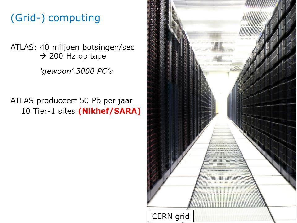 ATLAS produceert 50 Pb per jaar 10 Tier-1 sites (Nikhef/SARA) CERN grid ATLAS: 40 miljoen botsingen/sec  200 Hz op tape (Grid-) computing 'gewoon' 30