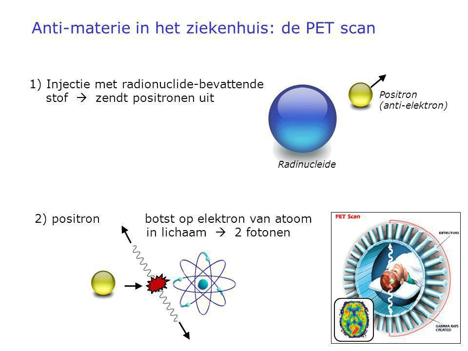 Anti-materie in het ziekenhuis: de PET scan 1) Injectie met radionuclide-bevattende stof  zendt positronen uit 2) positron botst op elektron van atoo
