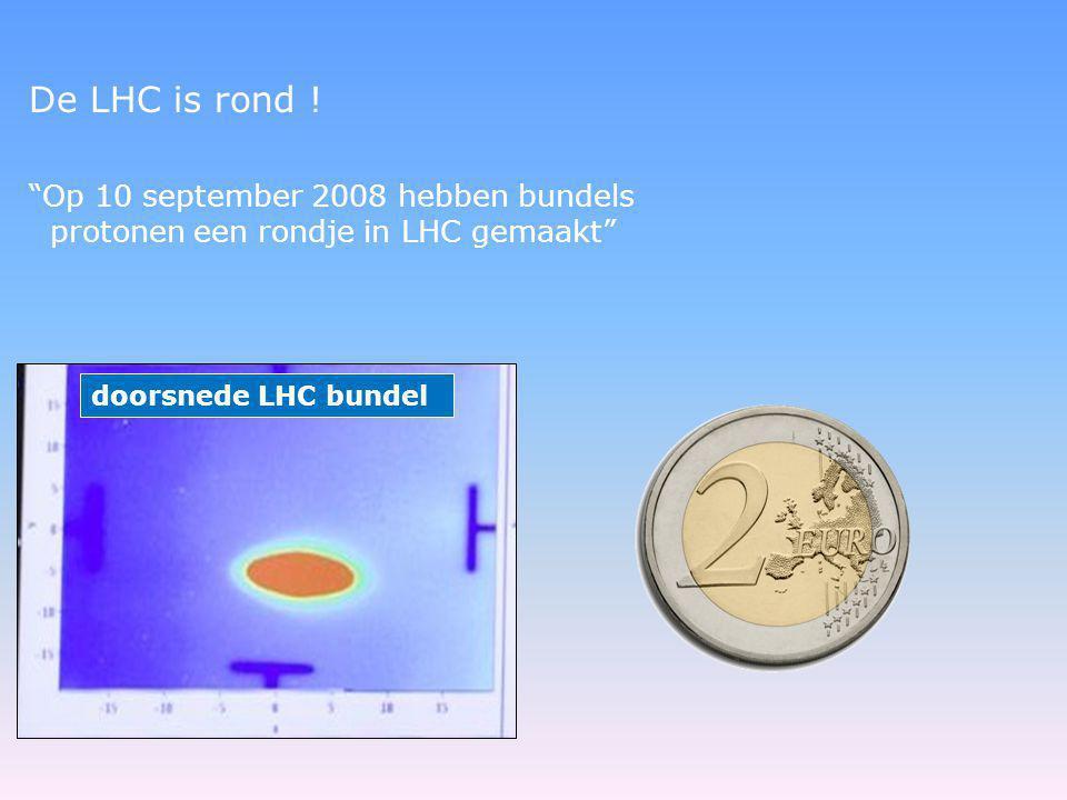 """De LHC is rond ! """"Op 10 september 2008 hebben bundels protonen een rondje in LHC gemaakt"""" doorsnede LHC bundel"""