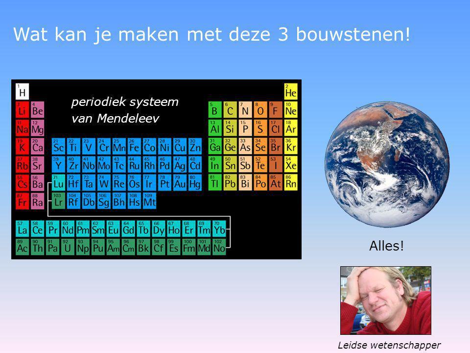 periodiek systeem van Mendeleev Wat kan je maken met deze 3 bouwstenen! Alles! Leidse wetenschapper