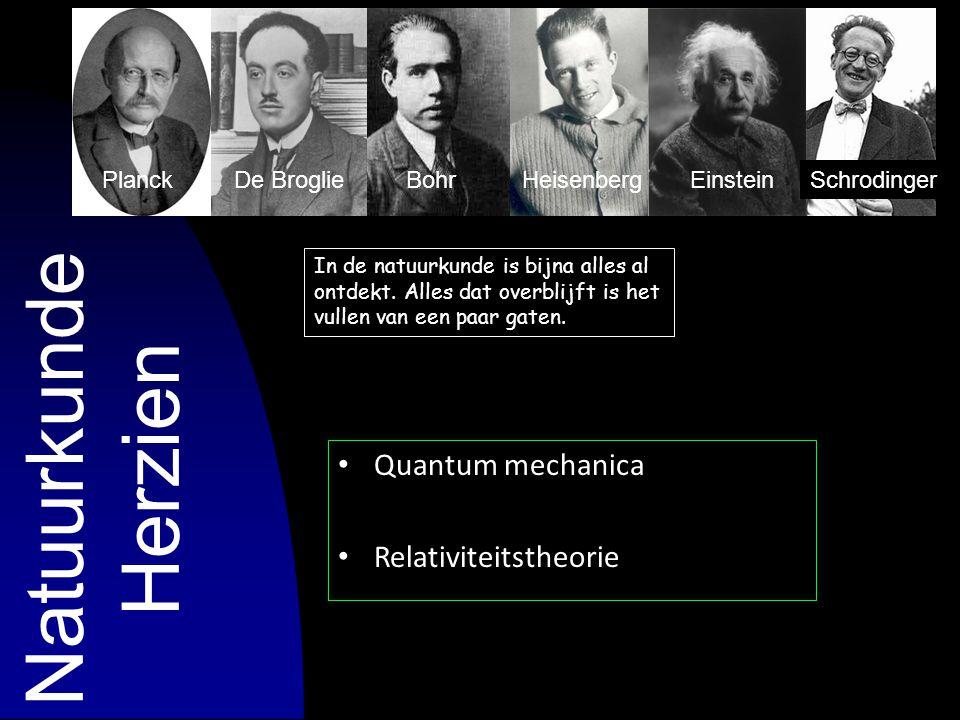 Quantum mechanica Relativiteitstheorie In de natuurkunde is bijna alles al ontdekt. Alles dat overblijft is het vullen van een paar gaten. Natuurkunde
