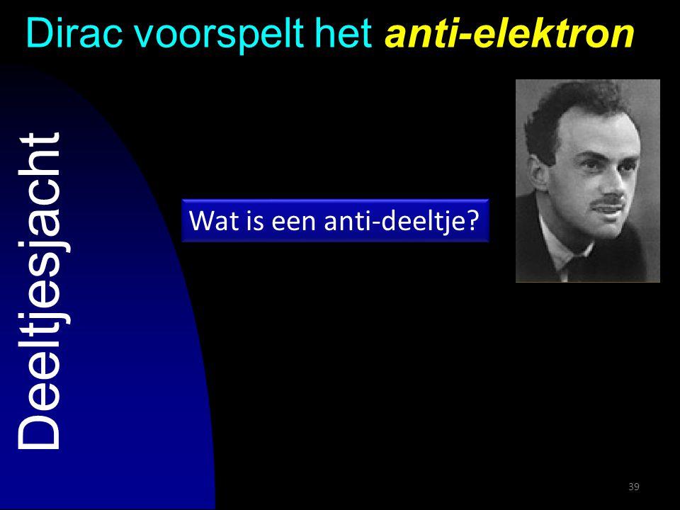 39 Deeltjesjacht Dirac voorspelt het anti-elektron Wat is een anti-deeltje?