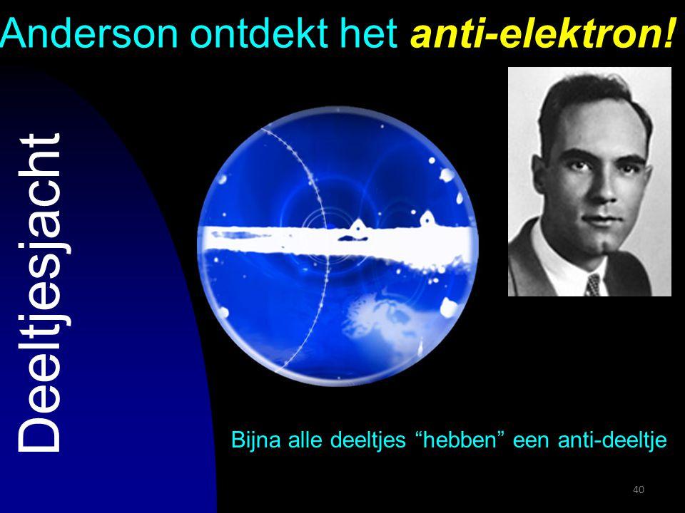 """40 Anderson ontdekt het anti-elektron! Bijna alle deeltjes """"hebben"""" een anti-deeltje Deeltjesjacht"""