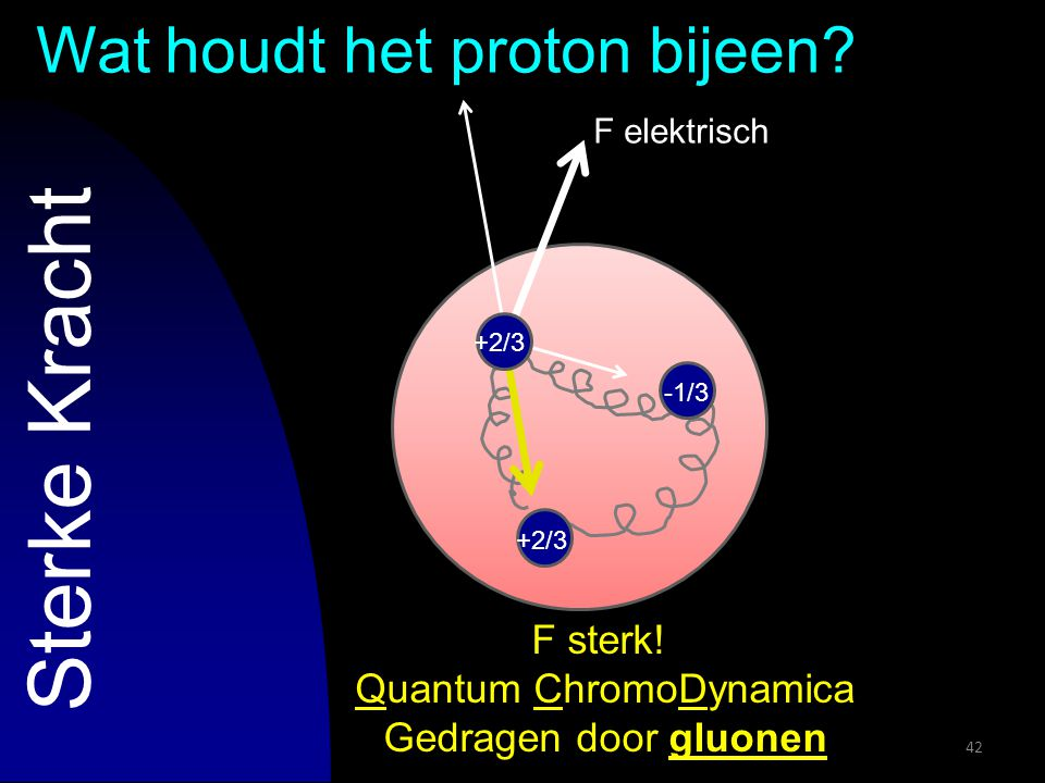 F elektrisch 42 Sterke Kracht Wat houdt het proton bijeen? F sterk! Quantum ChromoDynamica Gedragen door gluonen +2/3 -1/3