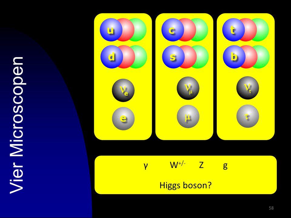 58 Vier Microscopen γ W +/- Z g Higgs boson?