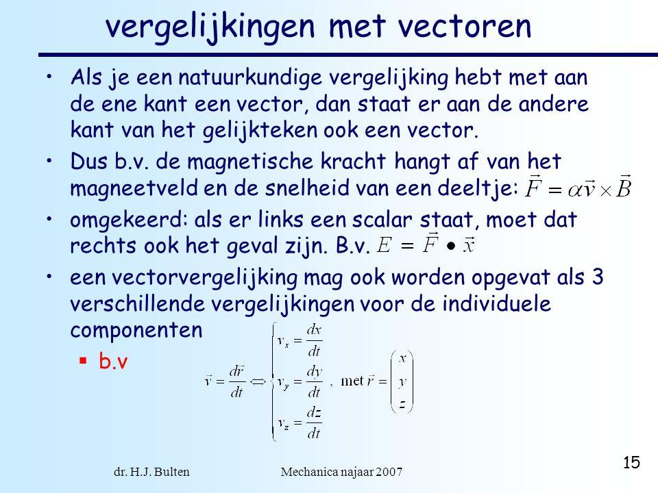 dr. H.J. Bulten Mechanica najaar 2007 15 vergelijkingen met vectoren Als je een natuurkundige vergelijking hebt met aan de ene kant een vector, dan st