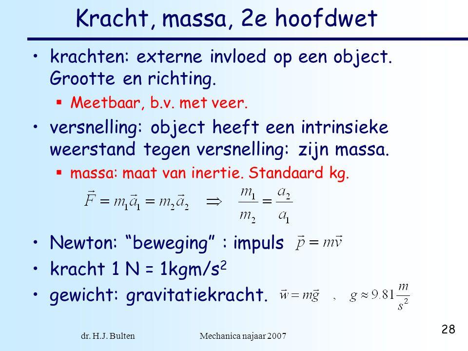 dr. H.J. Bulten Mechanica najaar 2007 28 Kracht, massa, 2e hoofdwet krachten: externe invloed op een object. Grootte en richting.  Meetbaar, b.v. met