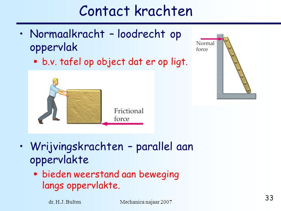 dr. H.J. Bulten Mechanica najaar 2007 33 Contact krachten Normaalkracht – loodrecht op oppervlak  b.v. tafel op object dat er op ligt. wrijvingskrach