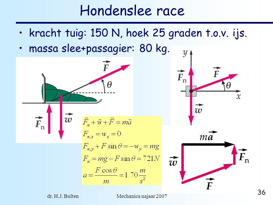 dr. H.J. Bulten Mechanica najaar 2007 36 Hondenslee race kracht tuig: 150 N, hoek 25 graden t.o.v. ijs. massa slee+passagier: 80 kg.