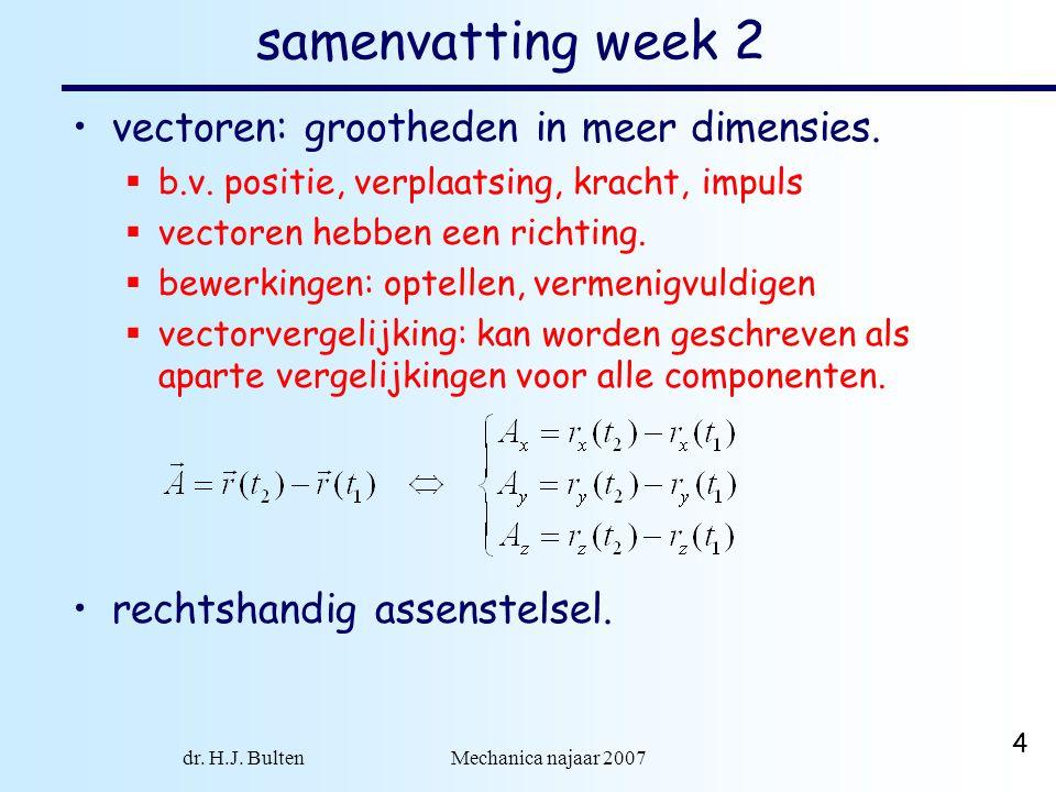 dr. H.J. Bulten Mechanica najaar 2007 4 samenvatting week 2 vectoren: grootheden in meer dimensies.  b.v. positie, verplaatsing, kracht, impuls  vec