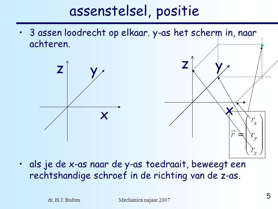 dr. H.J. Bulten Mechanica najaar 2007 5 assenstelsel, positie 3 assen loodrecht op elkaar. y-as het scherm in, naar achteren. als je de x-as naar de y