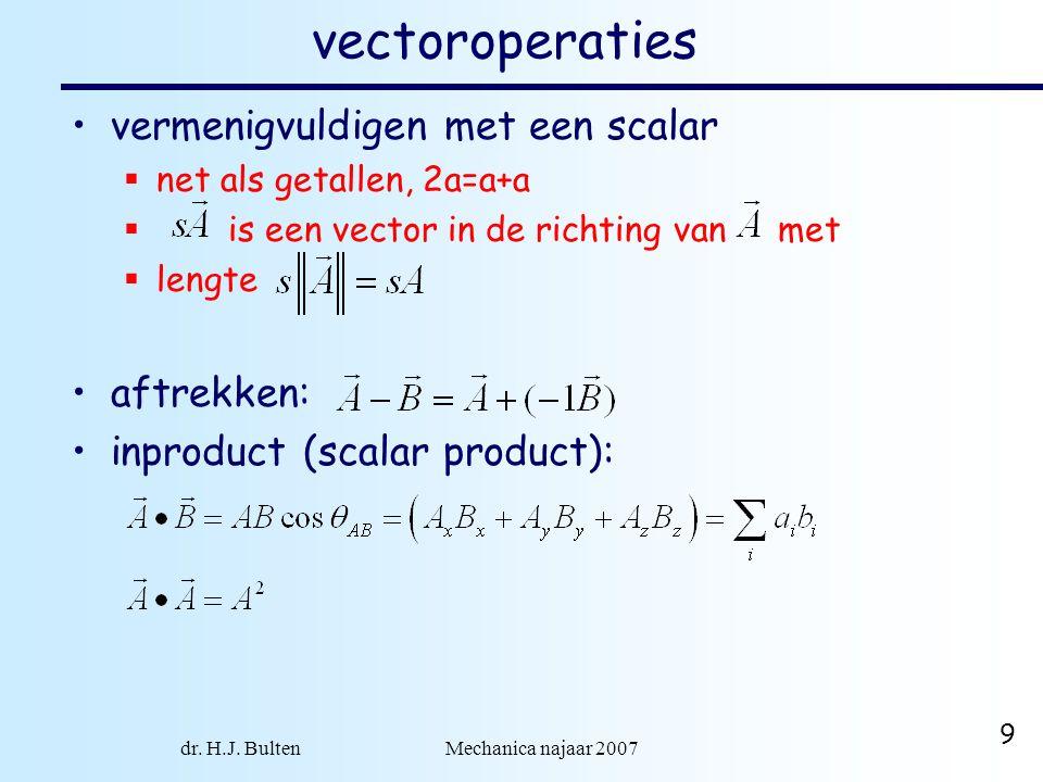 dr. H.J. Bulten Mechanica najaar 2007 9 vectoroperaties vermenigvuldigen met een scalar  net als getallen, 2a=a+a  is een vector in de richting van