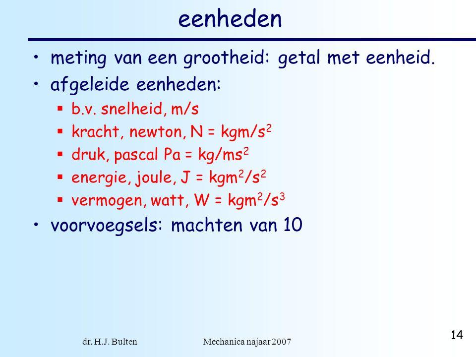 dr. H.J. Bulten Mechanica najaar 2007 14 eenheden meting van een grootheid: getal met eenheid. afgeleide eenheden:  b.v. snelheid, m/s  kracht, newt