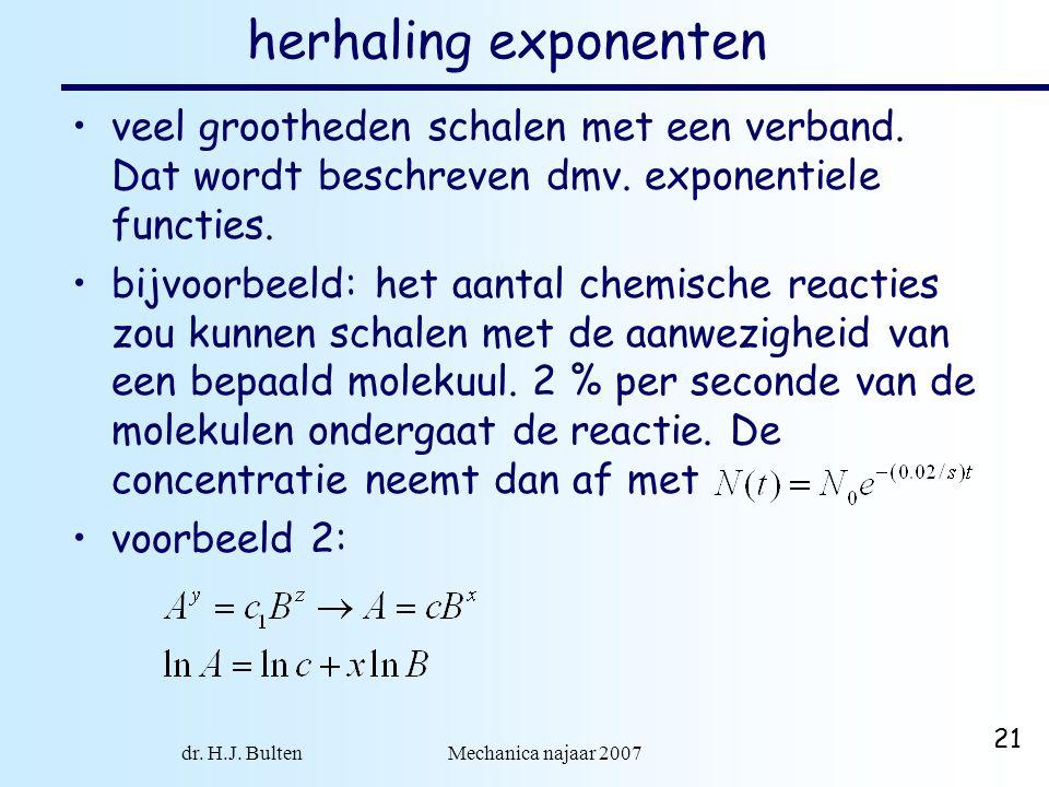 dr. H.J. Bulten Mechanica najaar 2007 21 herhaling exponenten veel grootheden schalen met een verband. Dat wordt beschreven dmv. exponentiele functies