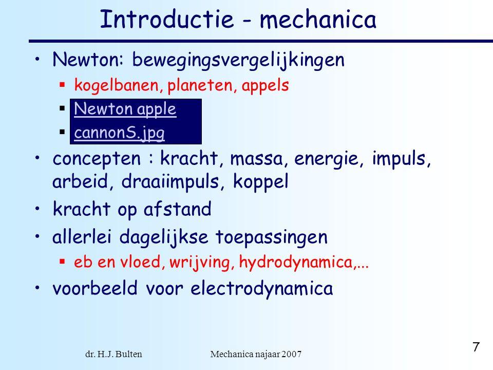 dr. H.J. Bulten Mechanica najaar 2007 7 Newton: bewegingsvergelijkingen  kogelbanen, planeten, appels  Newton apple Newton apple  cannonS.jpg canno