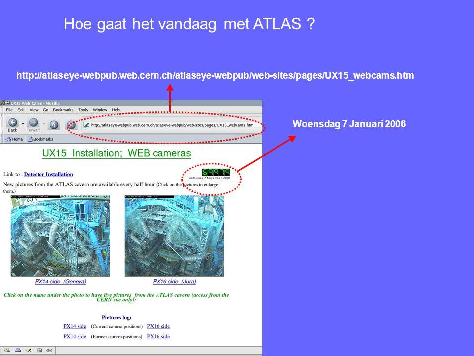 http://atlaseye-webpub.web.cern.ch/atlaseye-webpub/web-sites/pages/UX15_webcams.htm Woensdag 7 Januari 2006 Hoe gaat het vandaag met ATLAS ?