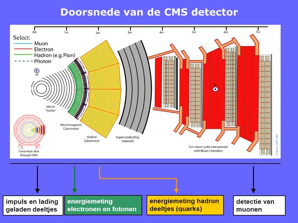 Doorsnede van de CMS detector impuls en lading geladen deeltjes energiemeting electronen en fotonen energiemeting hadron deeltjes (quarks) detectie va