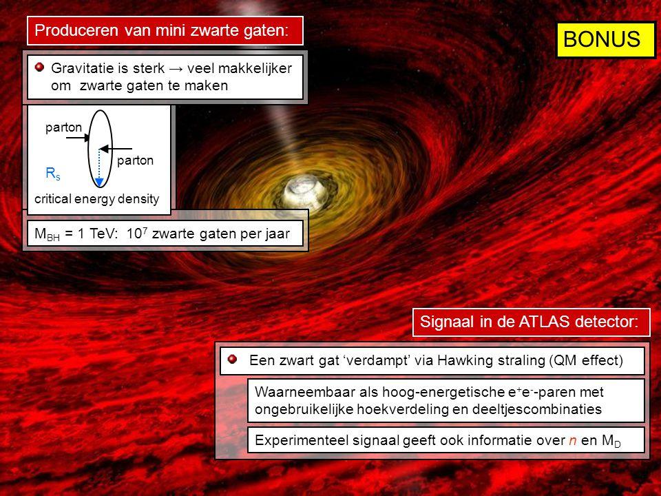 RsRs parton critical energy density M BH = 1 TeV: 10 7 zwarte gaten per jaar Gravitatie is sterk → veel makkelijker om zwarte gaten te maken Een zwart