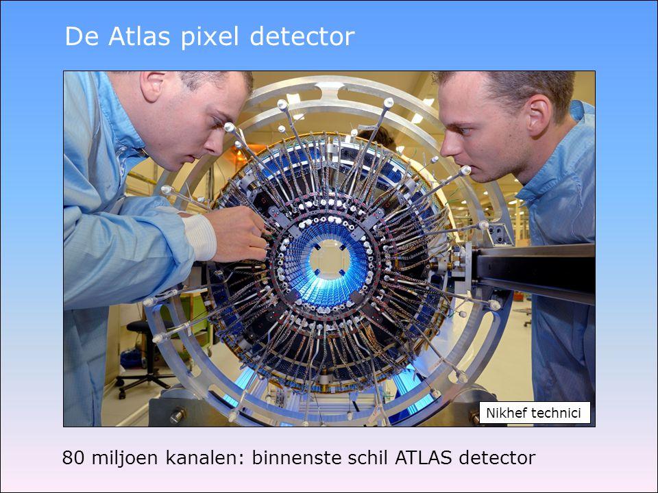 80 miljoen kanalen: binnenste schil ATLAS detector De Atlas pixel detector Nikhef technici