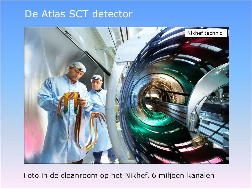 De Atlas SCT detector Foto in de cleanroom op het Nikhef, 6 miljoen kanalen Nikhef technici