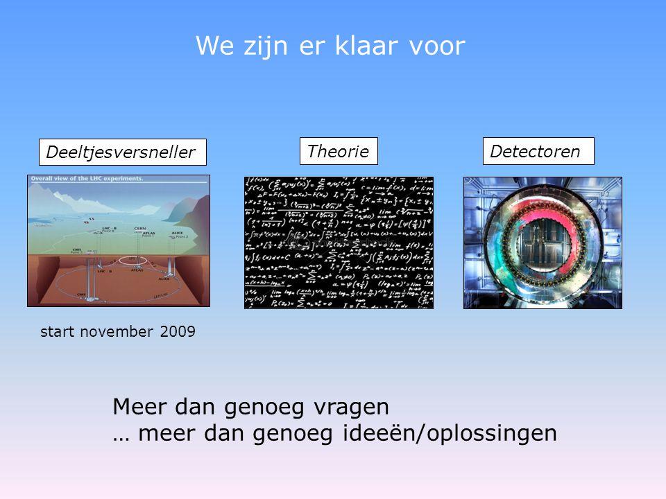 Meer dan genoeg vragen … meer dan genoeg ideeën/oplossingen start november 2009 We zijn er klaar voor Deeltjesversneller TheorieDetectoren