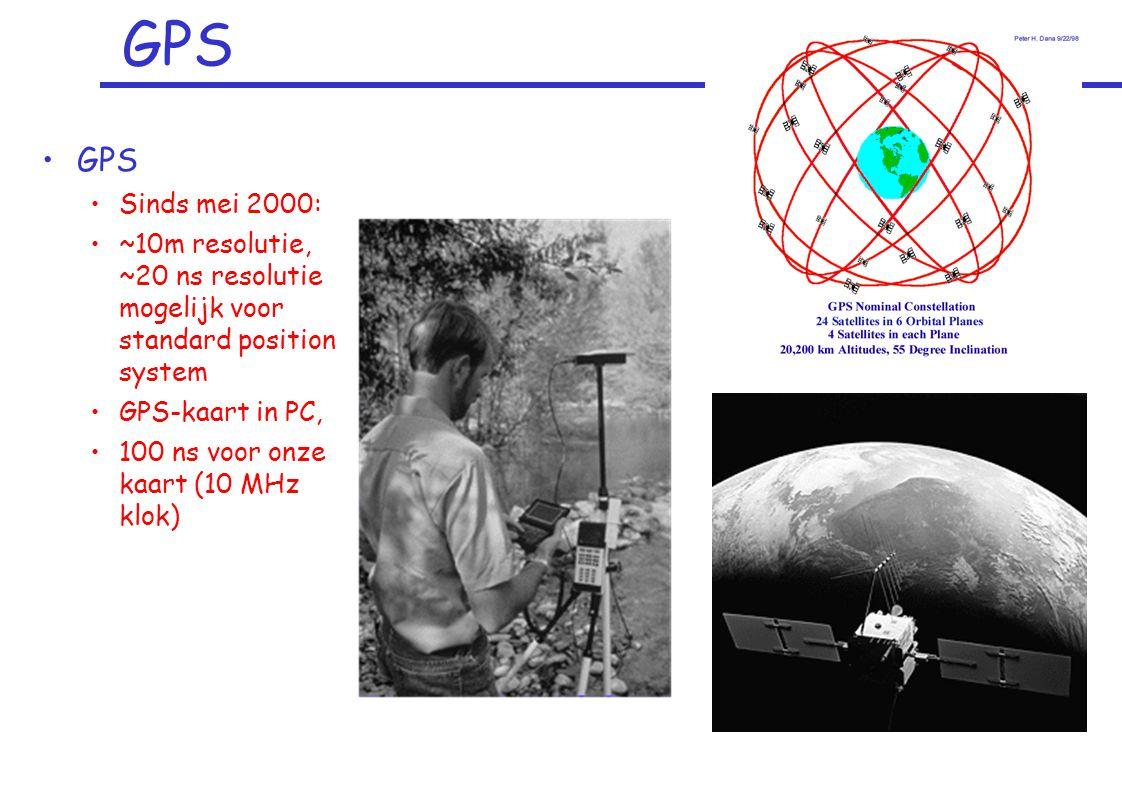 GPS Sinds mei 2000: ~10m resolutie, ~20 ns resolutie mogelijk voor standard position system GPS-kaart in PC, 100 ns voor onze kaart (10 MHz klok)