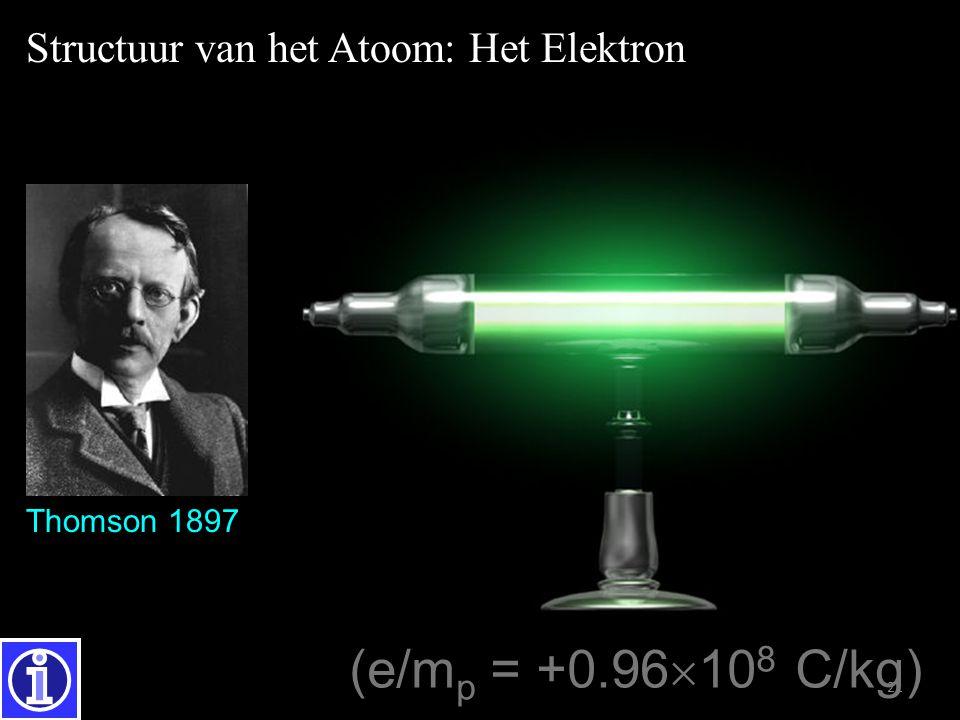 21 Thomson (1856-1940) e/m =  1.76  10 11 C/kg (e/m p = +0.96  10 8 C/kg) Thomson 1897 Structuur van het Atoom: Het Elektron