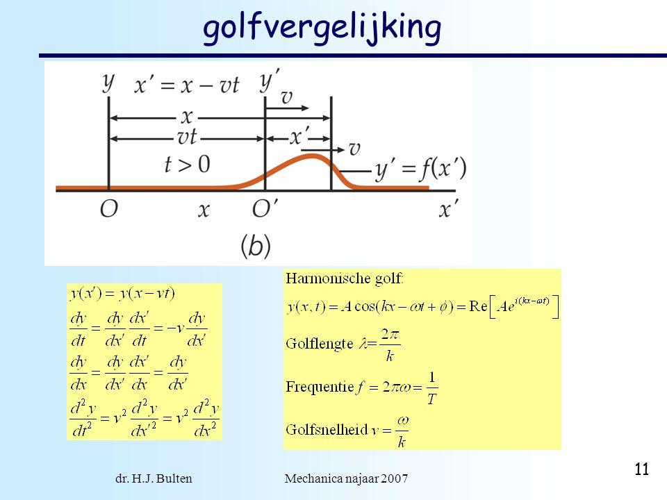 dr. H.J. Bulten Mechanica najaar 2007 11 golfvergelijking