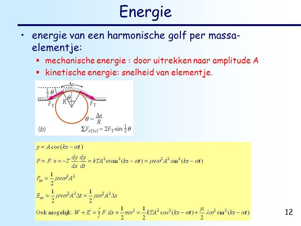 dr. H.J. Bulten Mechanica najaar 2007 12 Energie energie van een harmonische golf per massa- elementje:  mechanische energie : door uitrekken naar am
