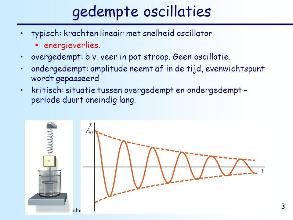 dr. H.J. Bulten Mechanica najaar 2007 3 gedempte oscillaties typisch: krachten lineair met snelheid oscillator  energieverlies. overgedempt: b.v. vee