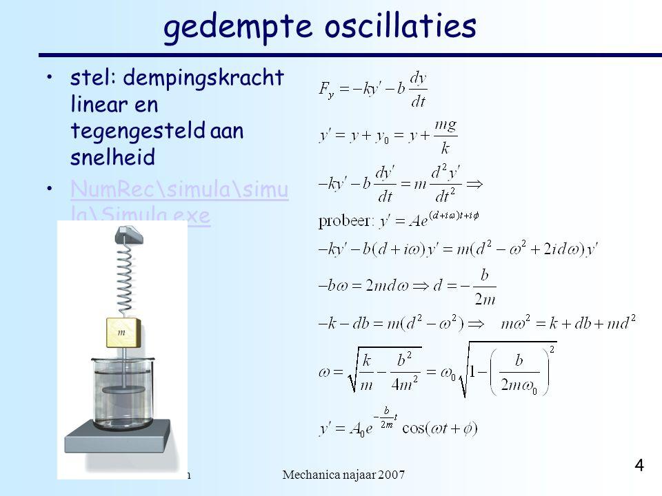 dr. H.J. Bulten Mechanica najaar 2007 4 gedempte oscillaties stel: dempingskracht linear en tegengesteld aan snelheid NumRec\simula\simu la\Simula.exe