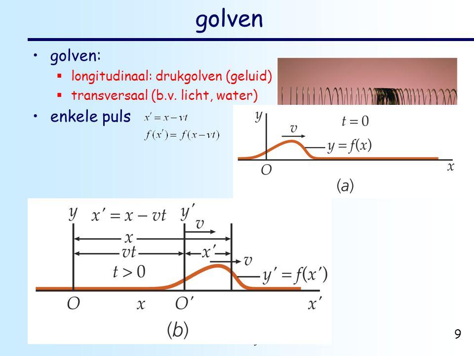 dr. H.J. Bulten Mechanica najaar 2007 9 golven golven:  longitudinaal: drukgolven (geluid)  transversaal (b.v. licht, water) enkele puls