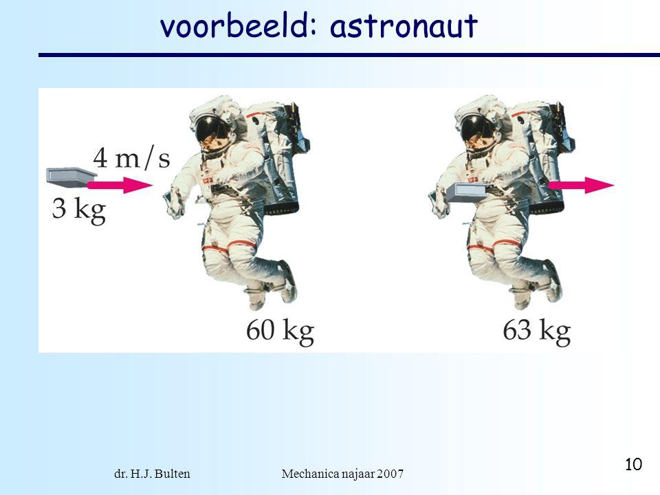 dr. H.J. Bulten Mechanica najaar 2007 10 voorbeeld: astronaut