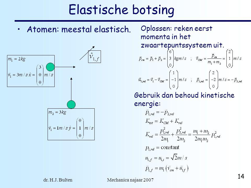 dr. H.J. Bulten Mechanica najaar 2007 14 Elastische botsing Atomen: meestal elastisch. Oplossen: reken eerst momenta in het zwaartepuntssysteem uit. G