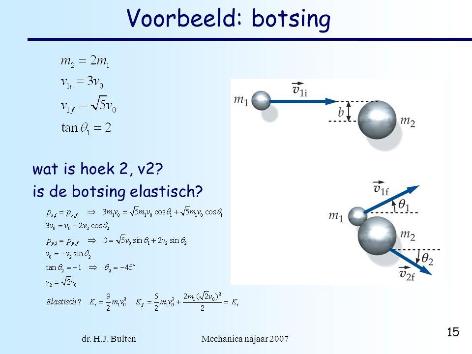 dr. H.J. Bulten Mechanica najaar 2007 15 Voorbeeld: botsing wat is hoek 2, v2? is de botsing elastisch?