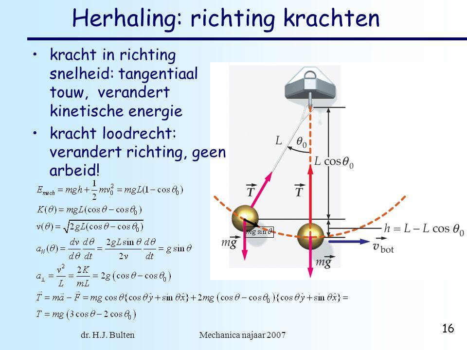 dr. H.J. Bulten Mechanica najaar 2007 16 Herhaling: richting krachten kracht in richting snelheid: tangentiaal touw, verandert kinetische energie krac