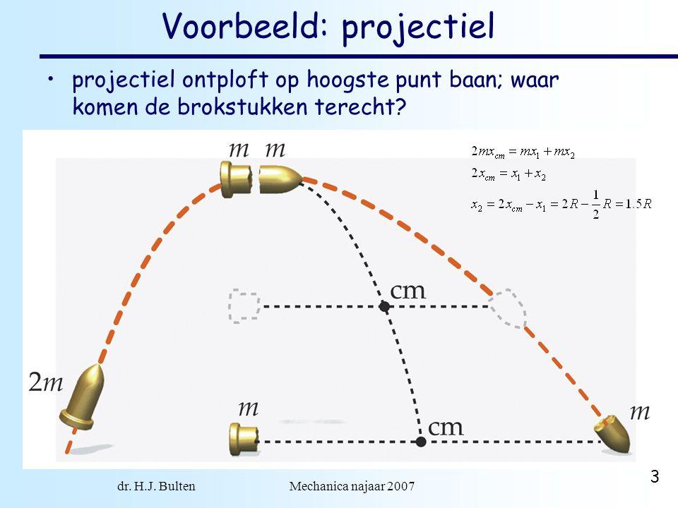 dr. H.J. Bulten Mechanica najaar 2007 3 Voorbeeld: projectiel projectiel ontploft op hoogste punt baan; waar komen de brokstukken terecht?