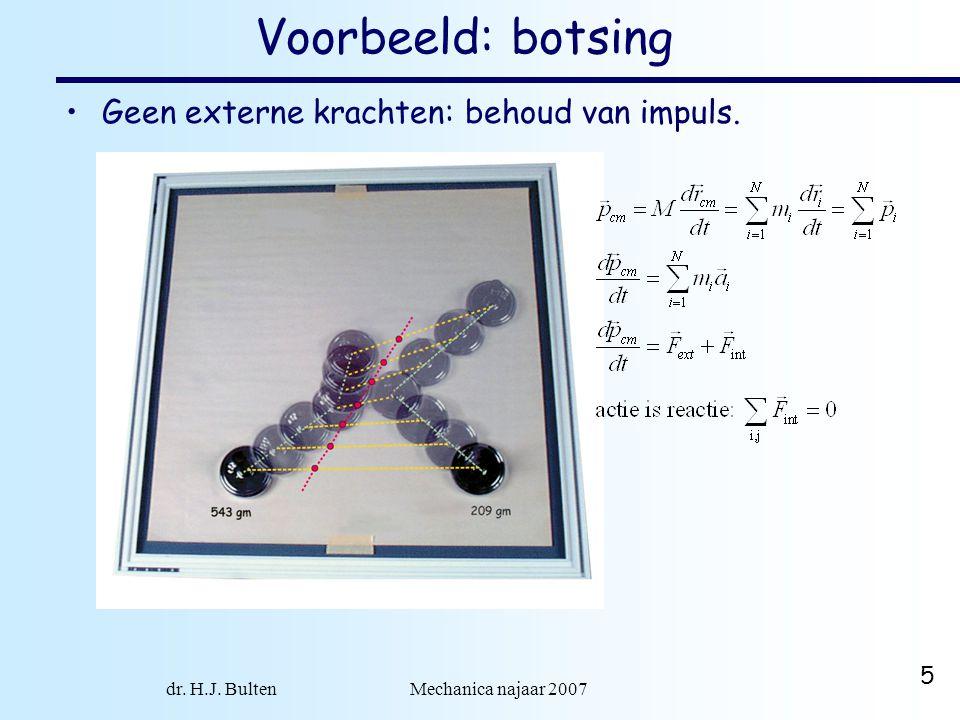 dr. H.J. Bulten Mechanica najaar 2007 5 Voorbeeld: botsing Geen externe krachten: behoud van impuls.